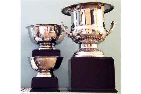 1st-place silver Wine Cooler to right, second and third place bowls to left